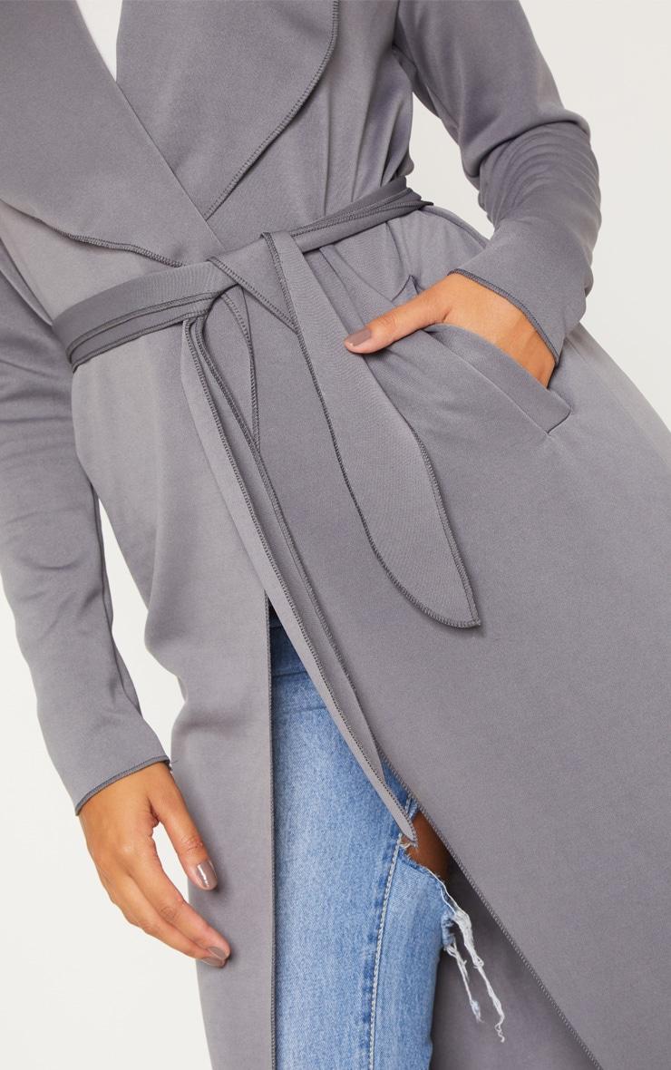 Grey  Long Scuba Waterfall Coat 5