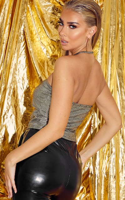 Gold Glitter Ruched Cut Out Top