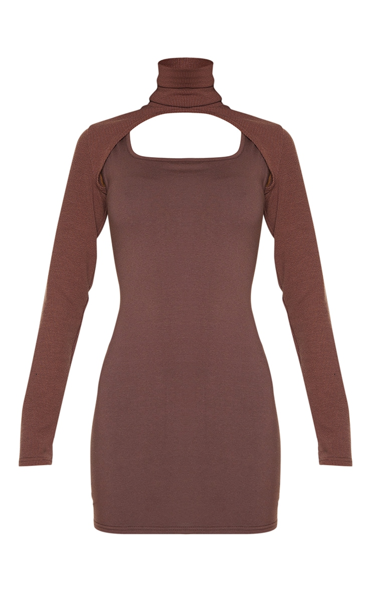 Chocolate High Neck Layered Detail Long Sleeve Bodycon Dress 5