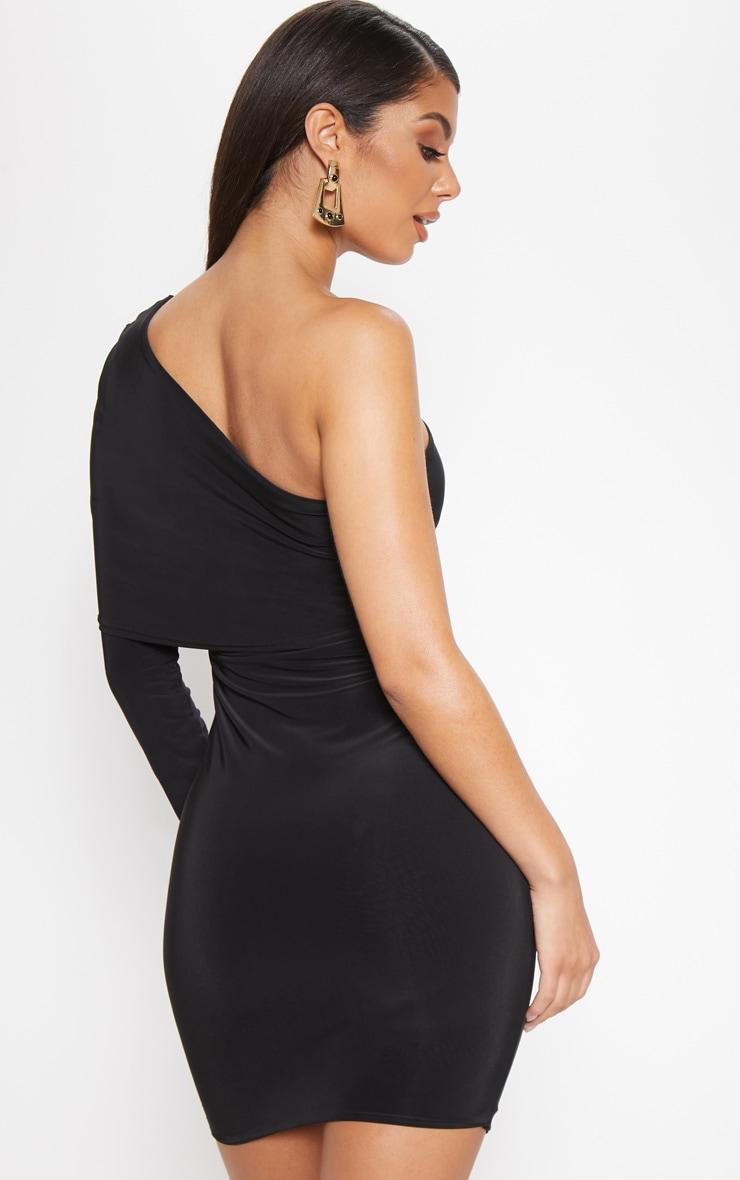 Black Slinky One Shoulder Cape Detail Bodycon Dress 2