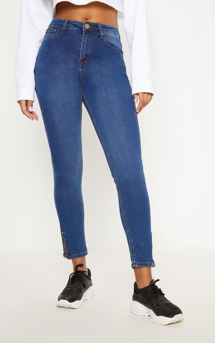 Mid Blue Wash High Waisted 5 Pocket Skinny Jean   4