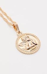 Gold Cherub Round Pendant Necklace 3