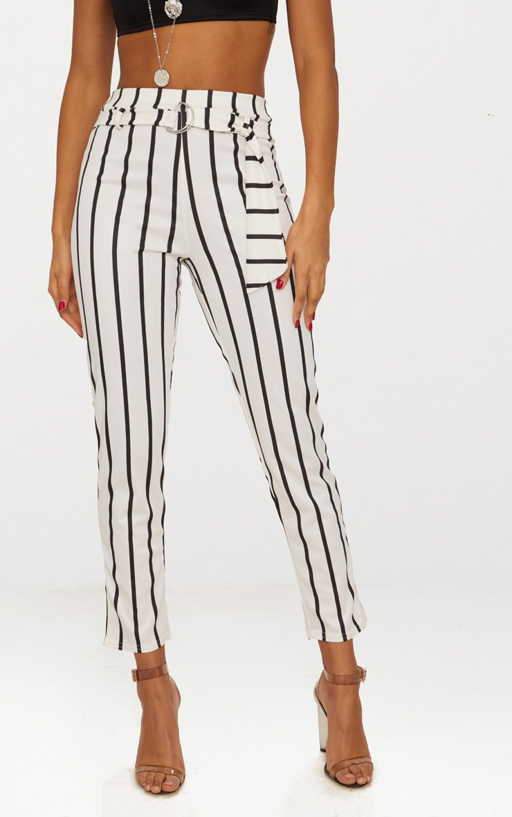 White Monochrome Stripe Belted Cigarette Pants 2