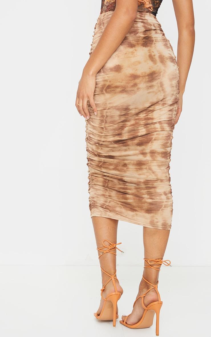 Stone Tie Dye Mesh Ruched Midi Skirt 3