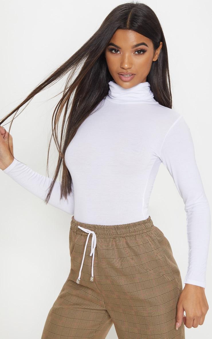 Basic White Roll Neck Long Sleeve Bodysuit 2