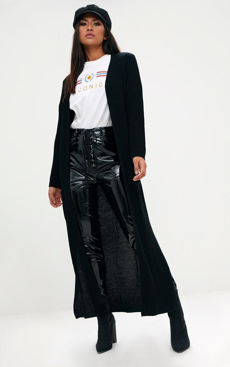 Black Pocket Front Maxi Cardigan 1