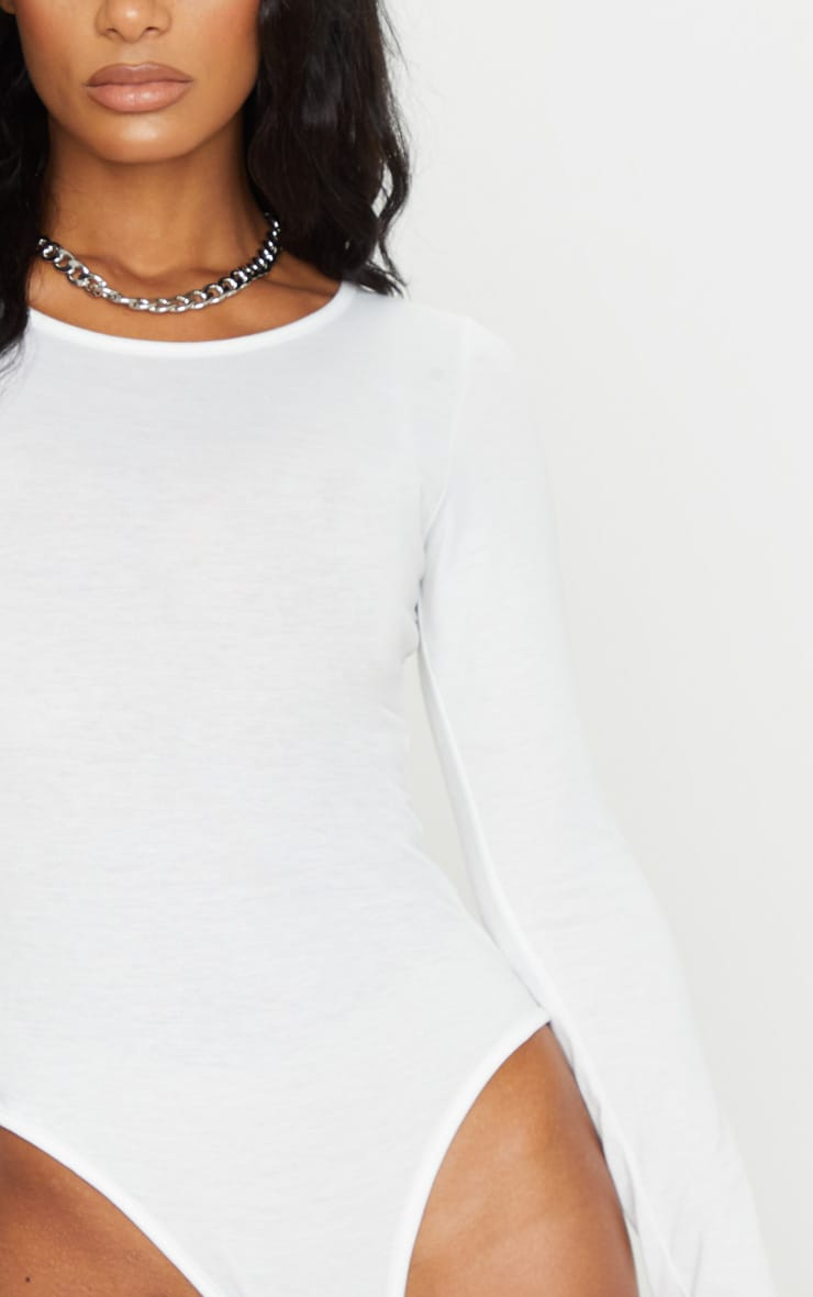 Cream Long Sleeve Jersey Bodysuit 4