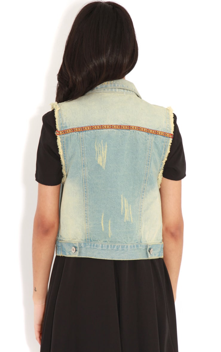 Nicola Denim Gilet With Embroidery 2