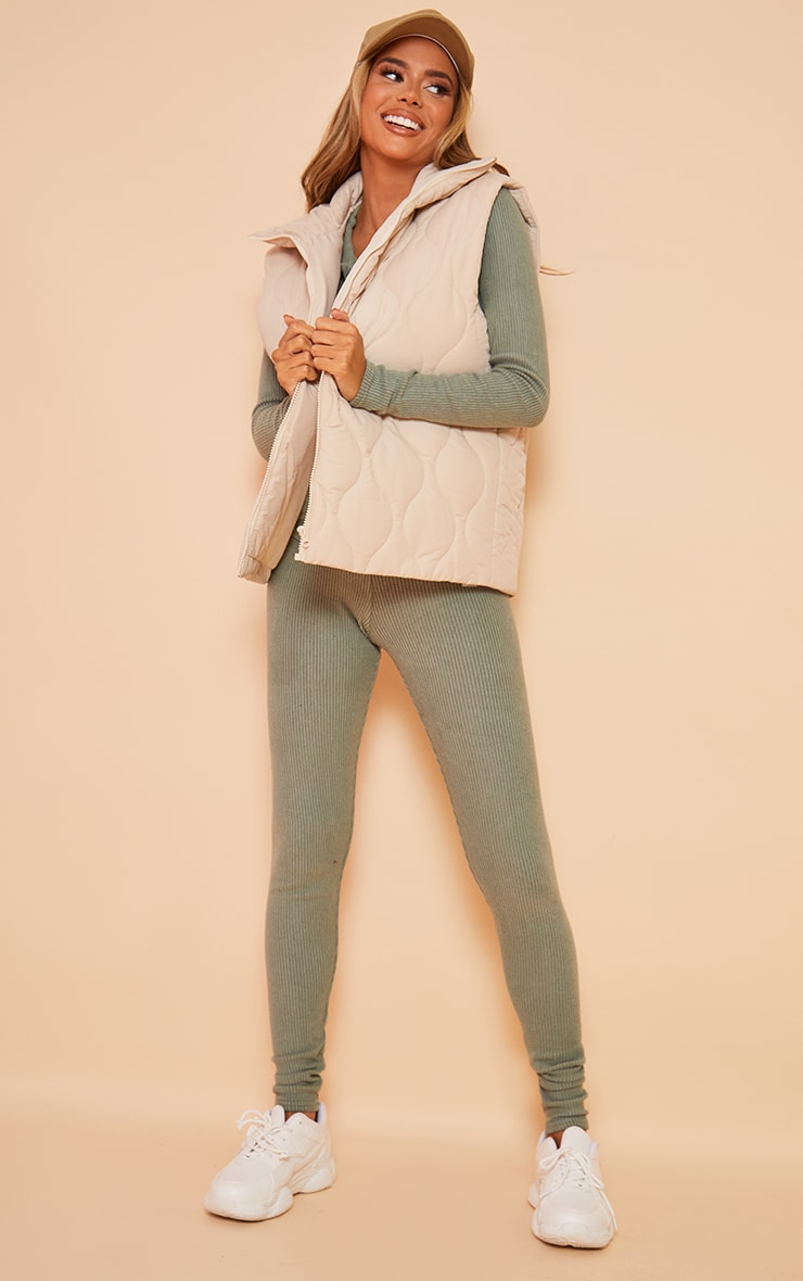 Maternity Sage Green Brushed High Waisted Leggings 1