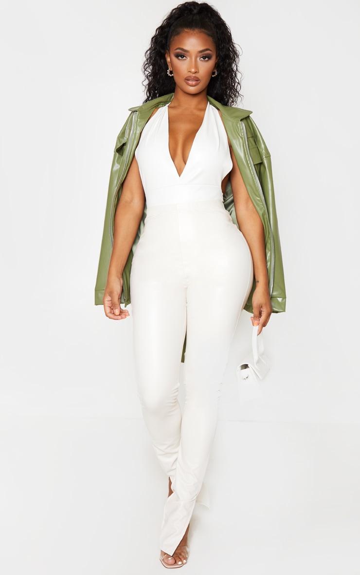 Shape Cream Vinyl Halterneck Plunge Bodysuit 5