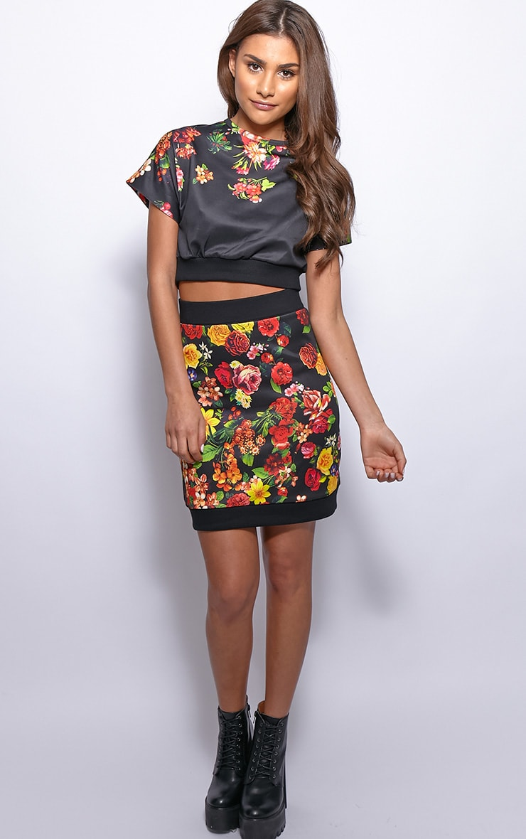 Frankie Black Floral Print Silk Crop Top  3