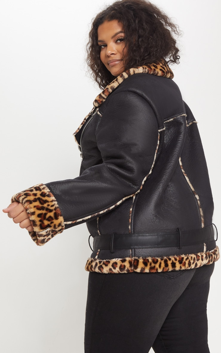 Plus Tan Leopard Print Aviator Coat 2