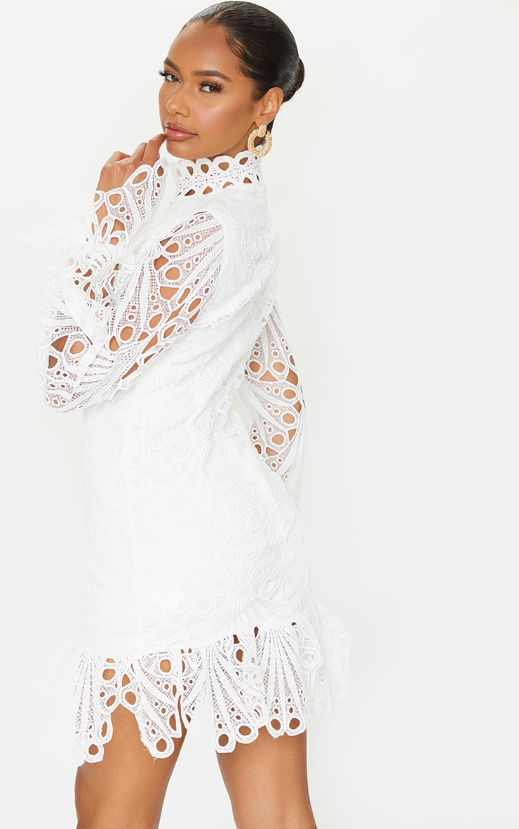 White High Neck Lace Long Sleeve Frill Bodycon Dress 2