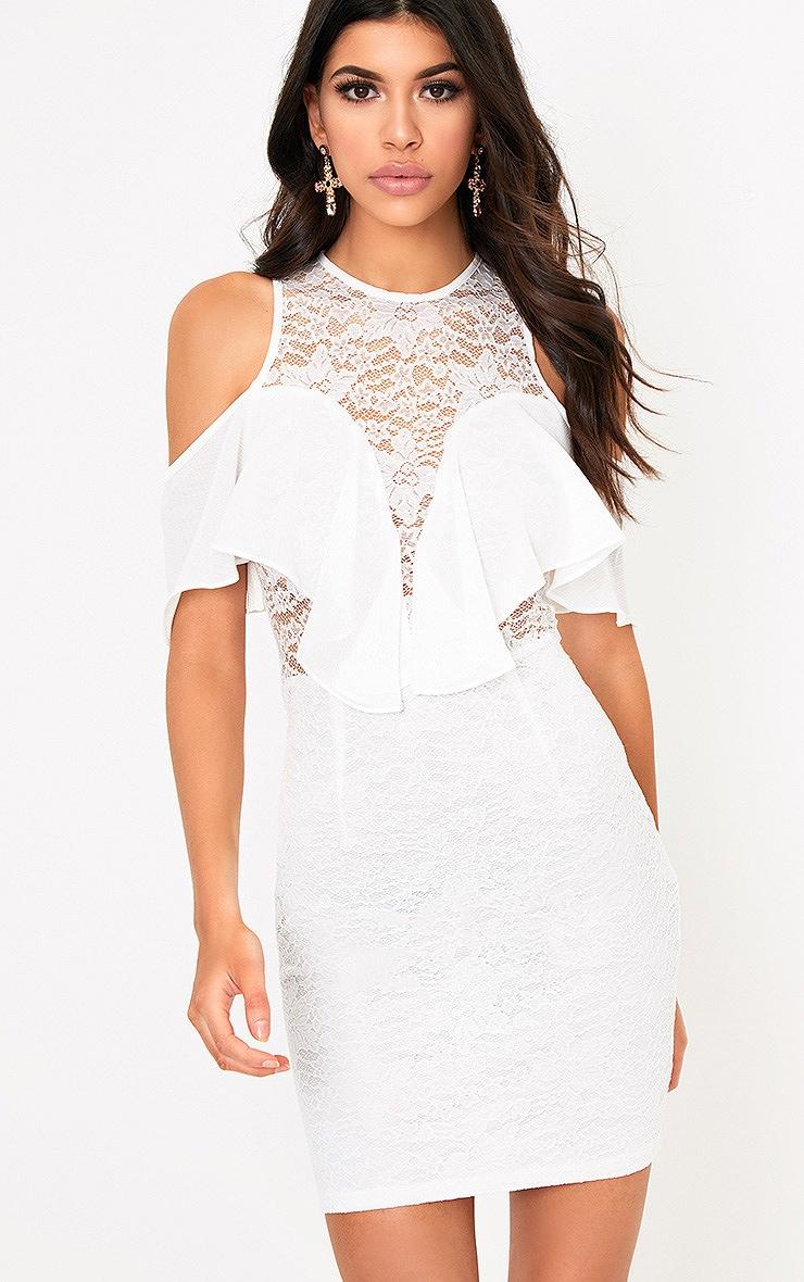 Esme White Lace Cold Shoulder Bodycon Dress 1