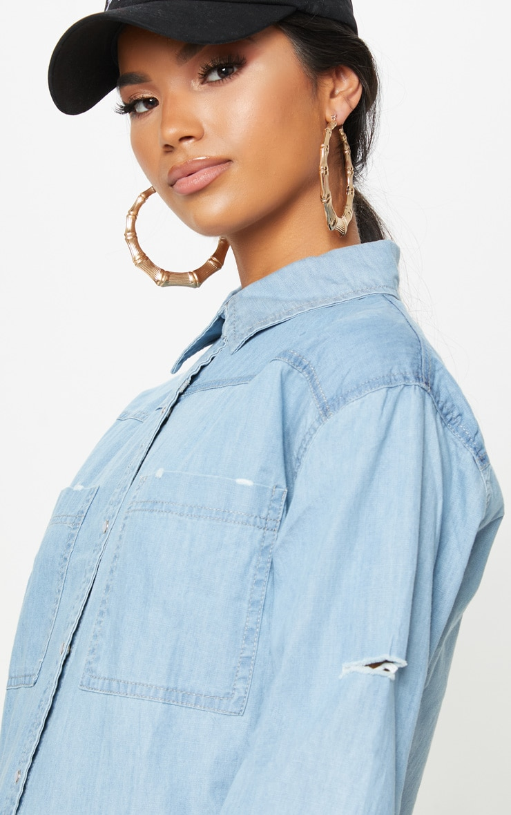 Bleach Wash Oversized Lightweight Denim Shirt 5
