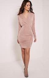 Gabrielle Blush Cape Ruched Bodycon Dress 4