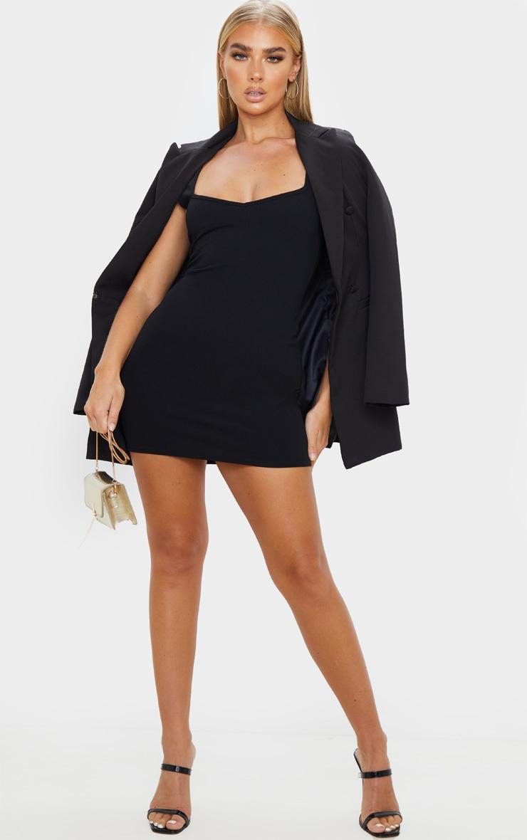 Black Sleeveless Squared Neck Detail Bodycon Dress 4