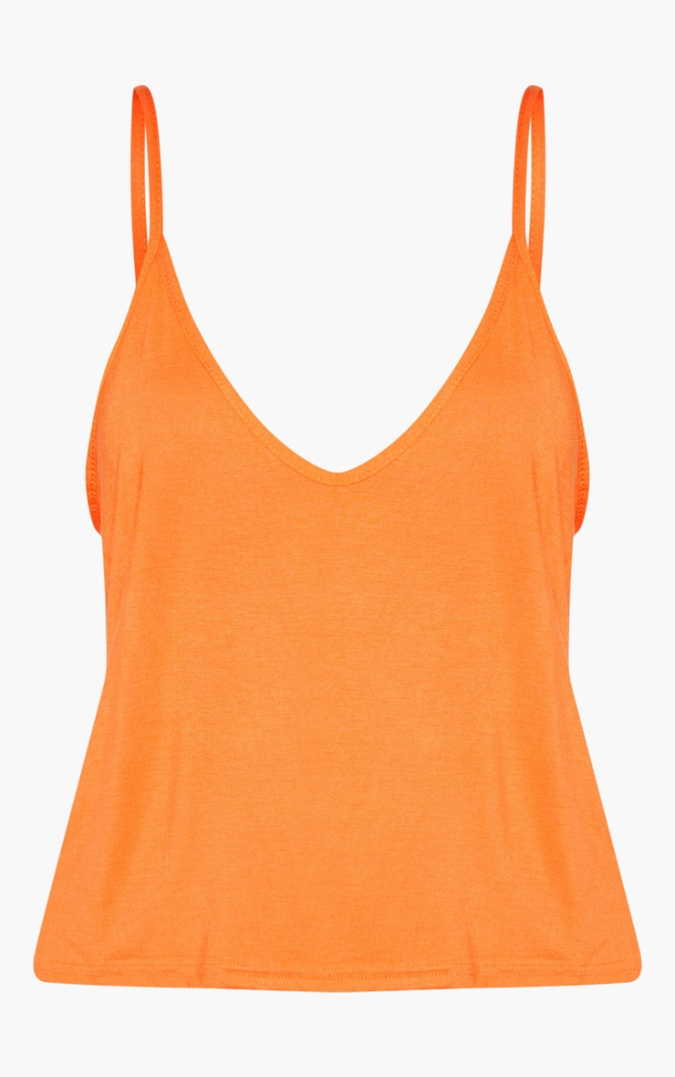 Basic Tangerine Jersey V Neck Swing Vest  3