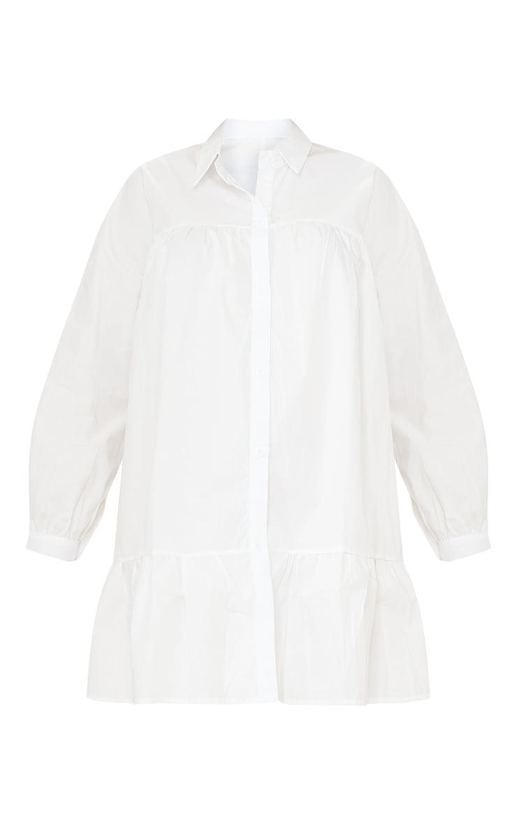 Maternity White Oversized Long Sleeve Smock Dress 5