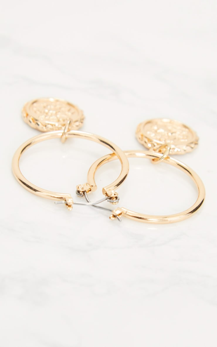 Gold Coin Drop Hoop Earrings 4