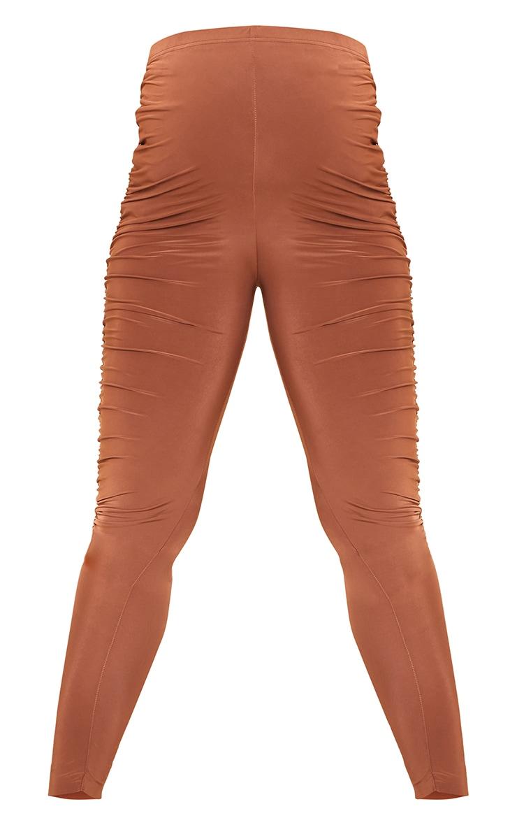 Maternity Brown Slinky Side Seam Ruched Leggings 5