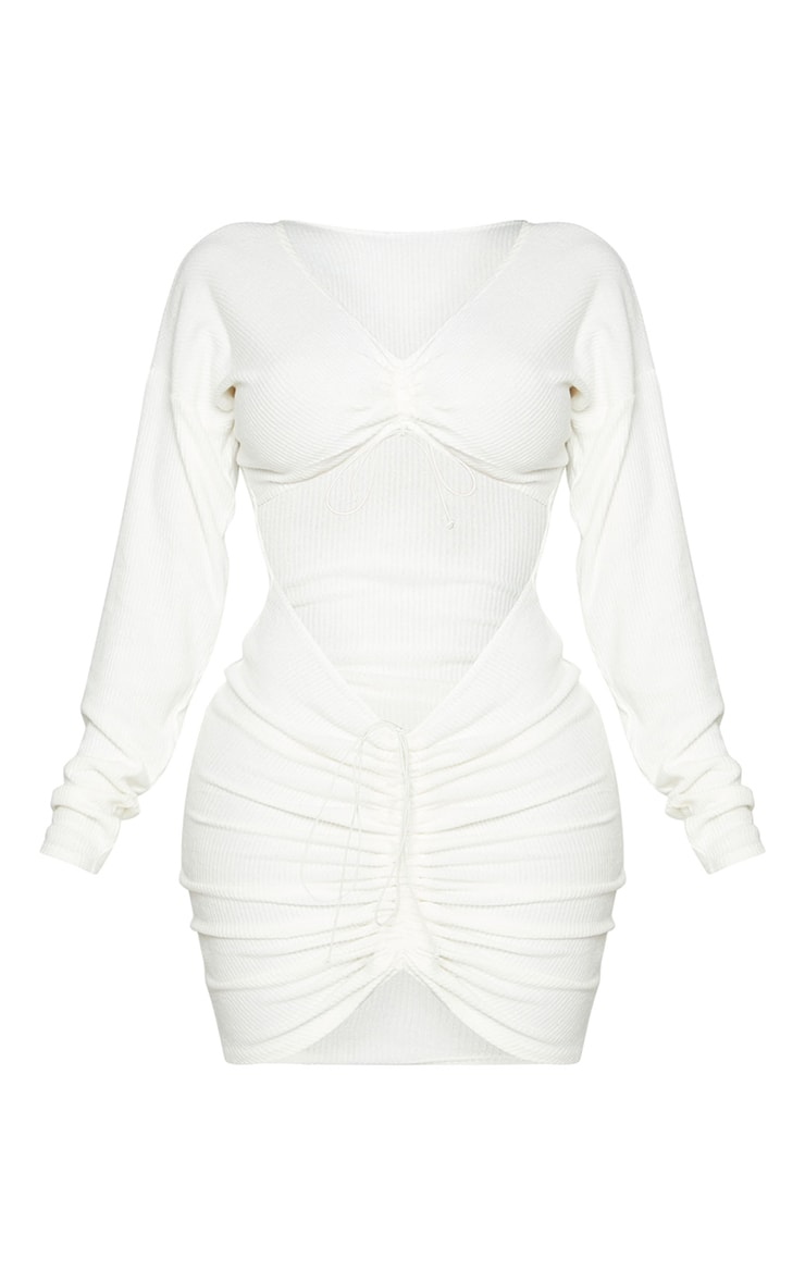 Shape Cream Brushed Rib Cut Out Ruched Bodycon Dress 5