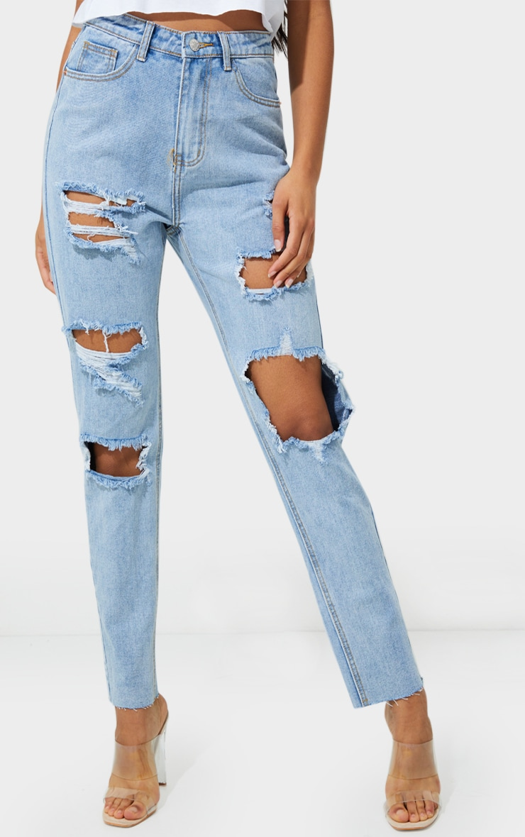 PRETTYLITTLETHING Light Blue Wash Extreme Distressed Slim Fit Mom Jeans 2