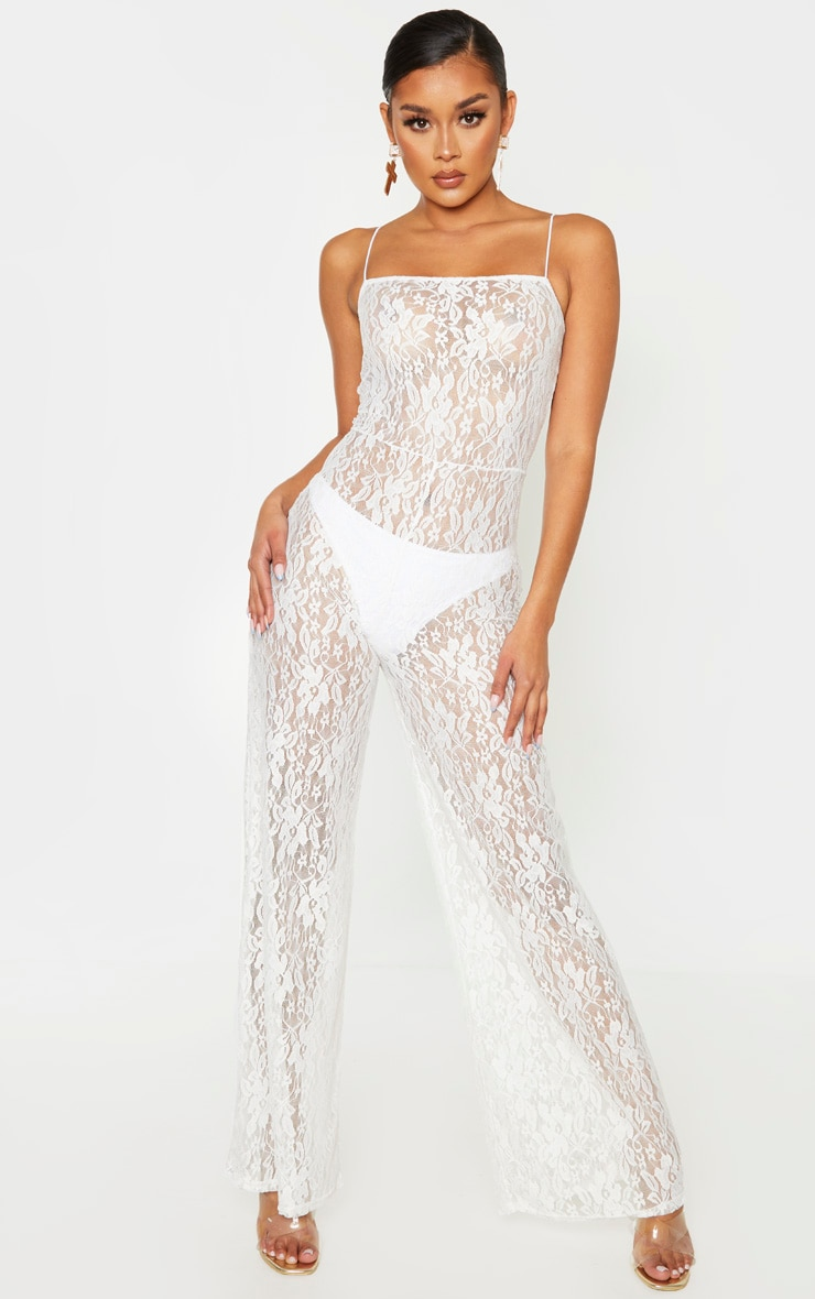 White Sheer Lace Strappy Jumpsuit 2