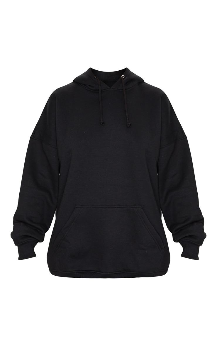 Black Oversized Pocket Front Drawstring Hoodie 5