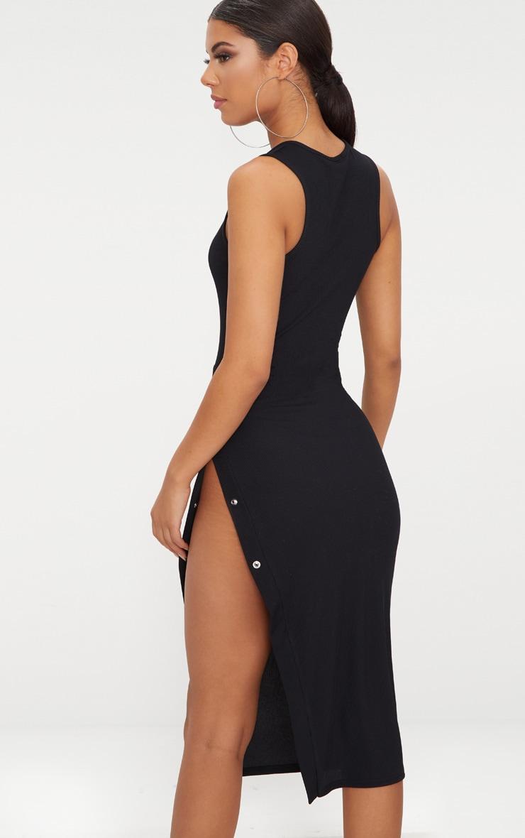 Black Ribbed Popper Split Detail Midi Dress 2