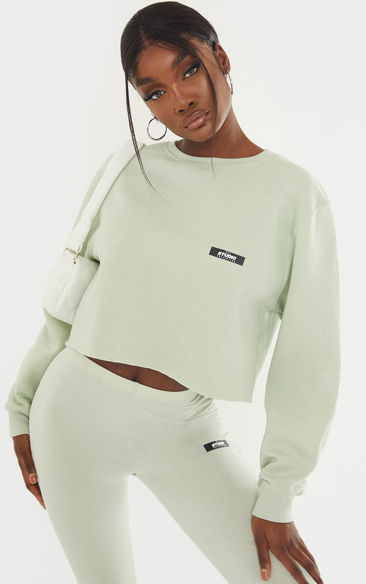 PRETTYLITTLETHING Tall Sage Green Studio Cropped Sweat 1