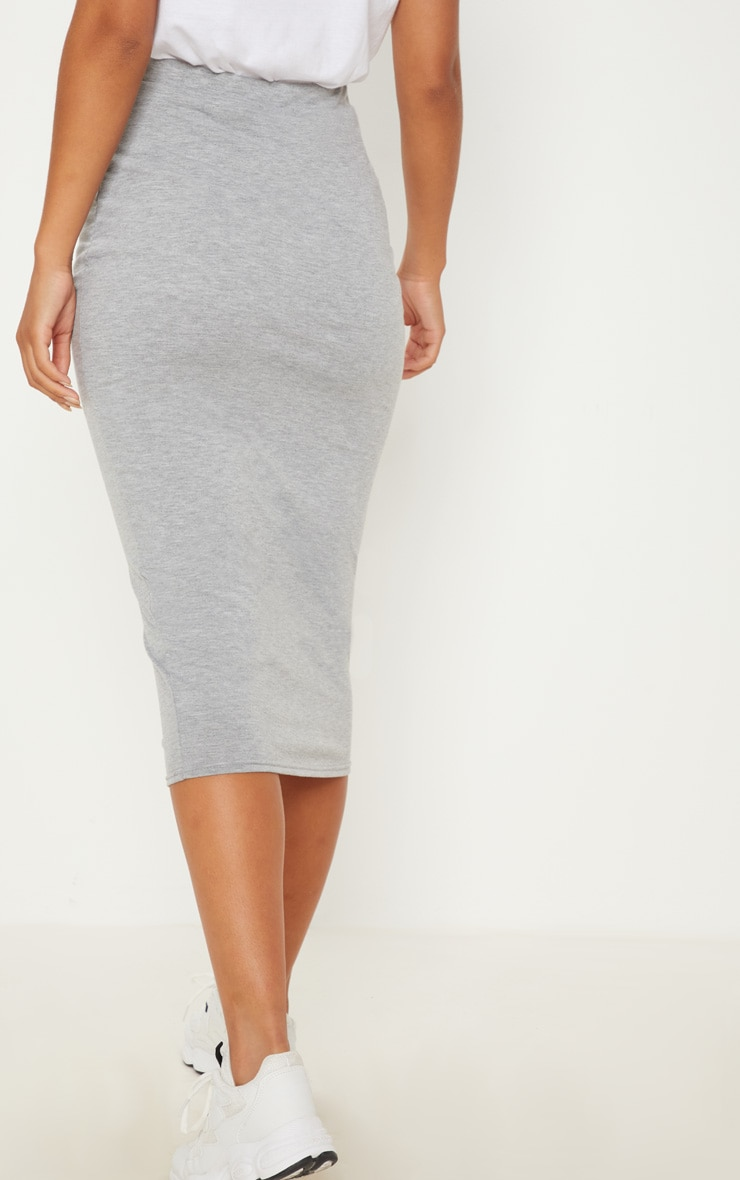 Grey Marl Ultimate Jersey Longline Midi Skirt 4