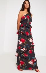 Black Floral One Shoulder Frill Maxi Dress. Dresses  24c8d2173