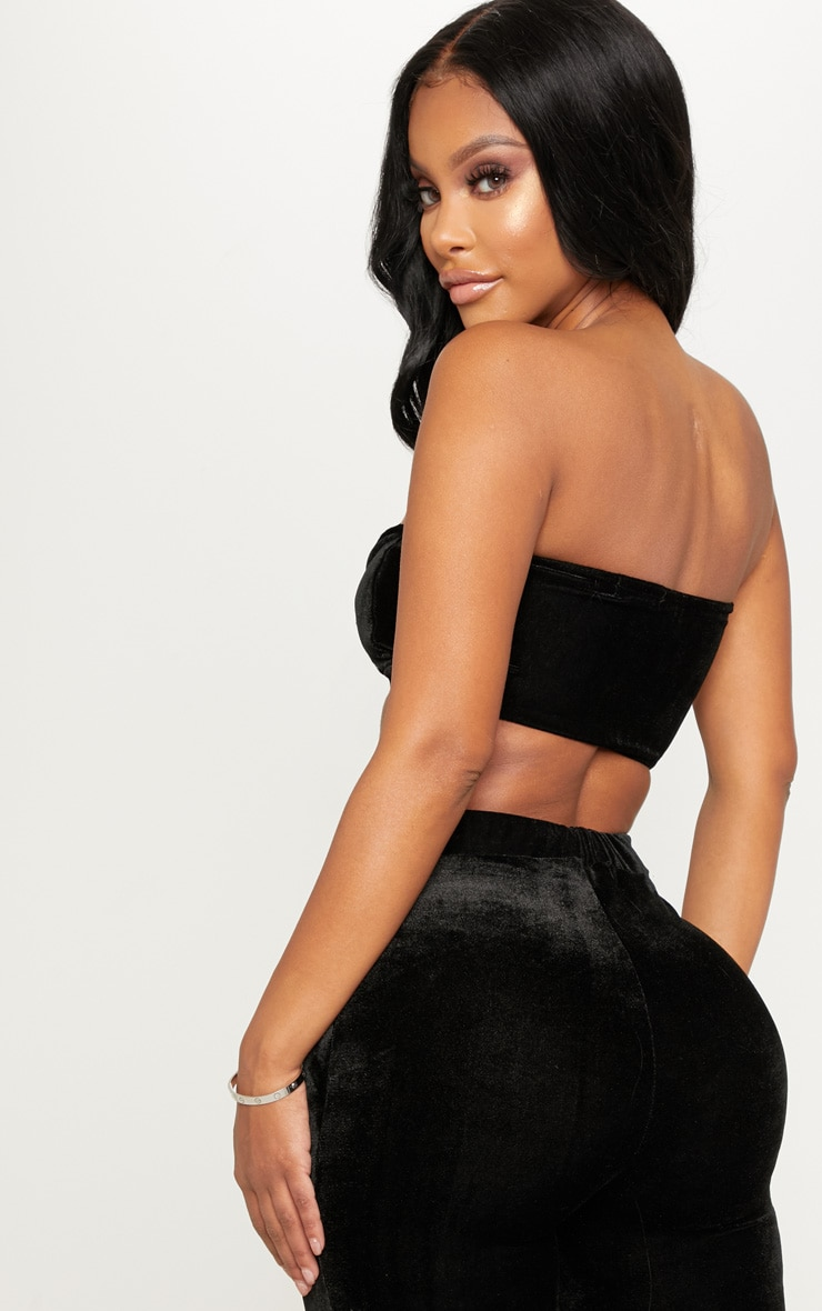 Shape Black Velvet Twist Front Bandeau Crop Top 2