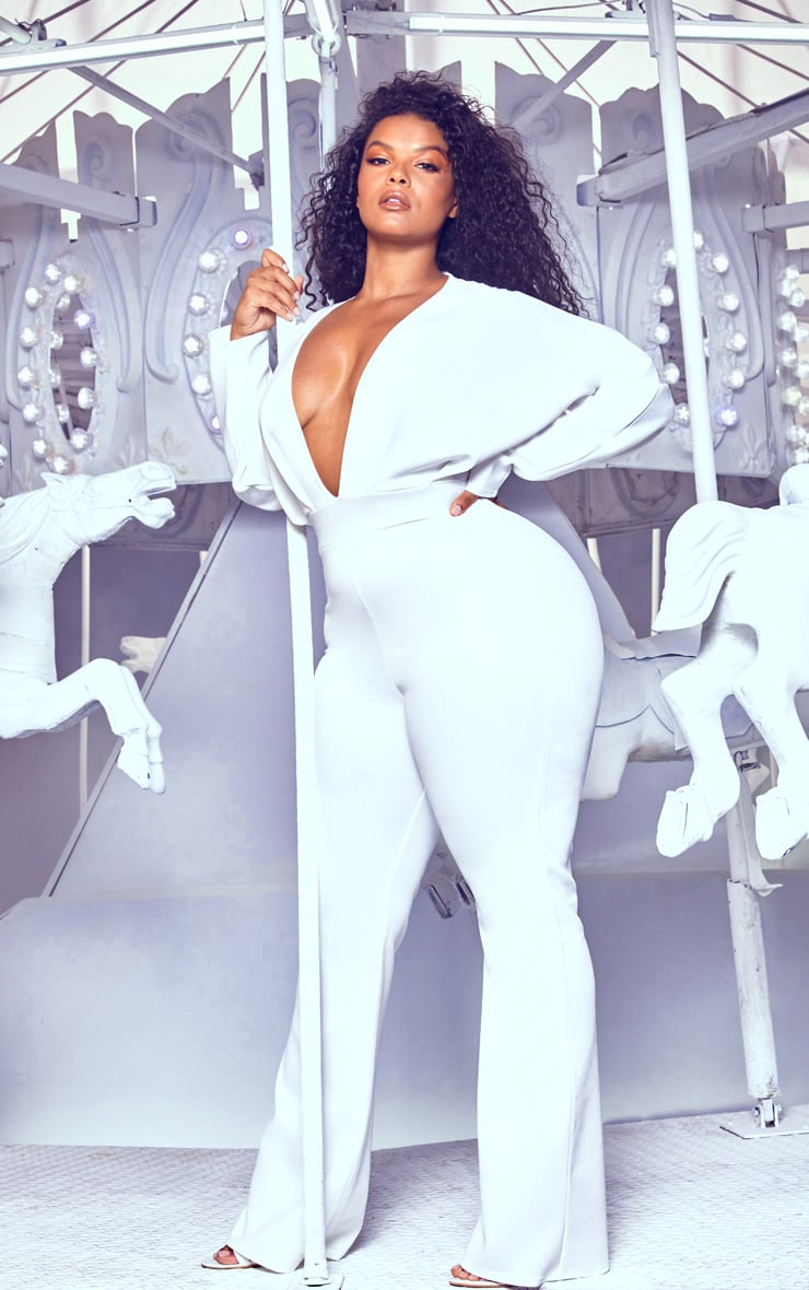 Plus White Pleated Balloon Sleeve Jumpsuit 4