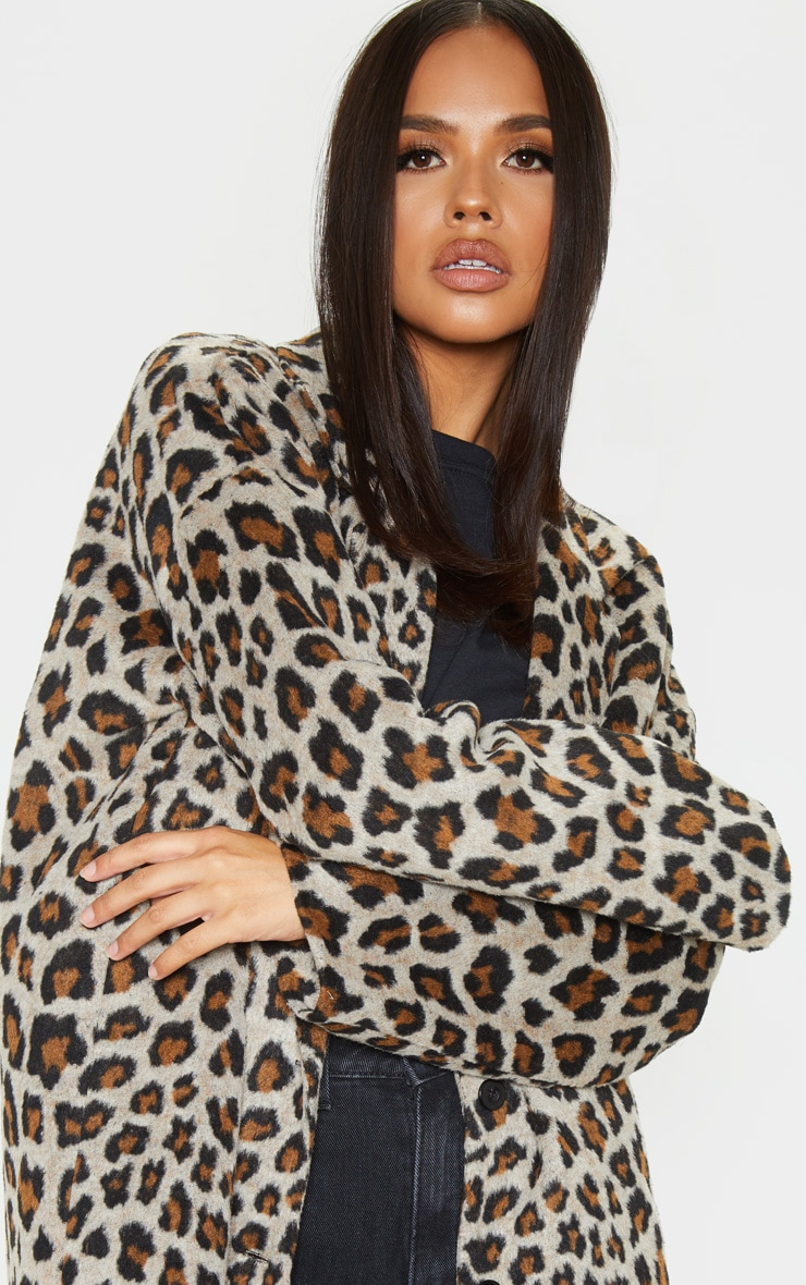 Brown Leopard Midi Coat 5