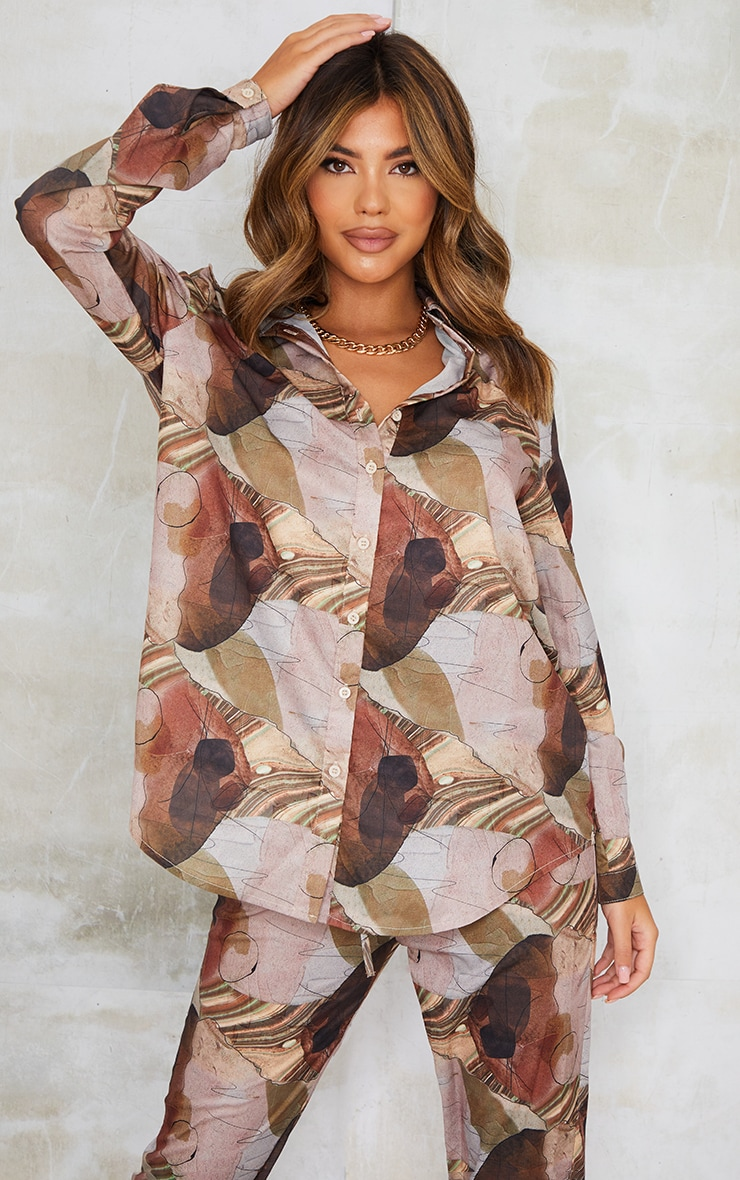 Beige Abstract Print Oversized Shirt 1