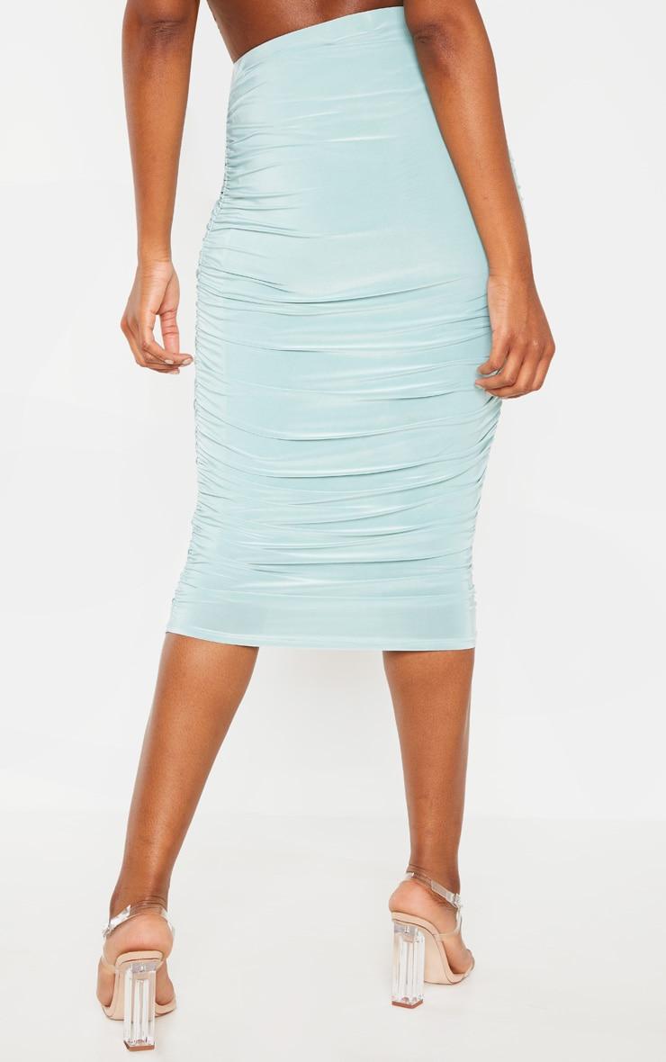 Mint Slinky Second Skin Ruched Midi Skirt 4