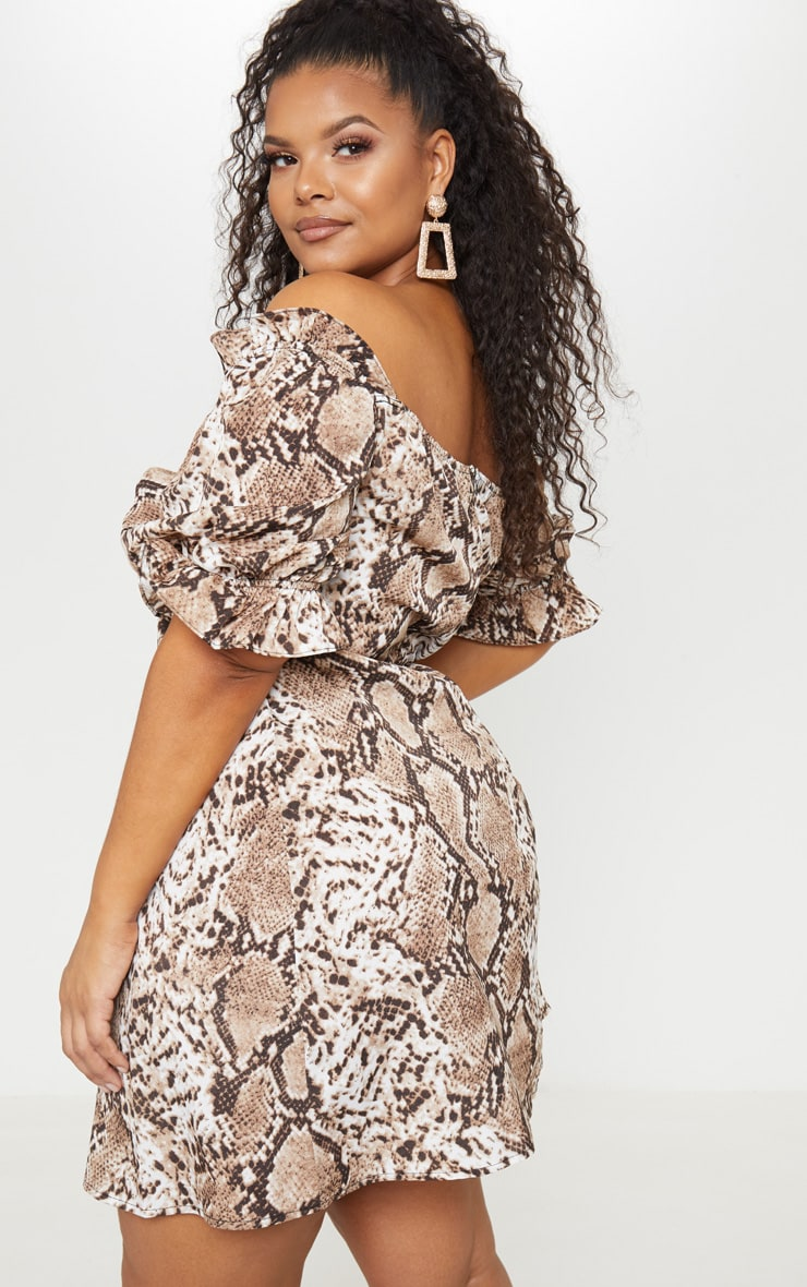 Plus Taupe Snake Print Puff Sleeve Shift Dress 2