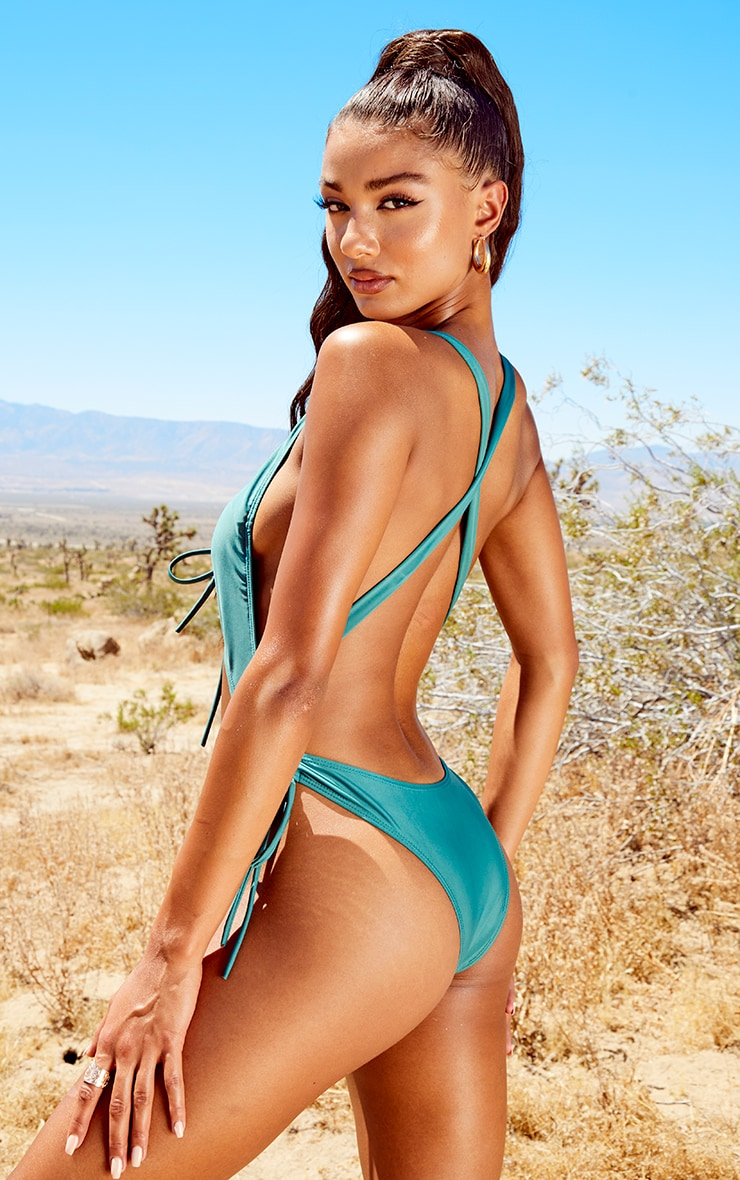 Green Drawstring Cut Out Swimsuit 2