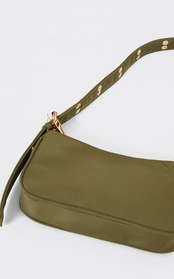 Olive Nylon Eyelet Strap Mini Shoulder Bag 3