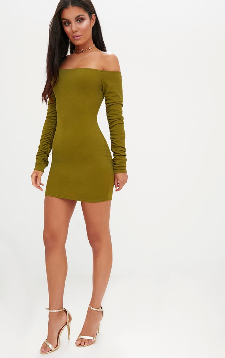 Olive Green Ruched Arm Bardot Bodycon Dress 4