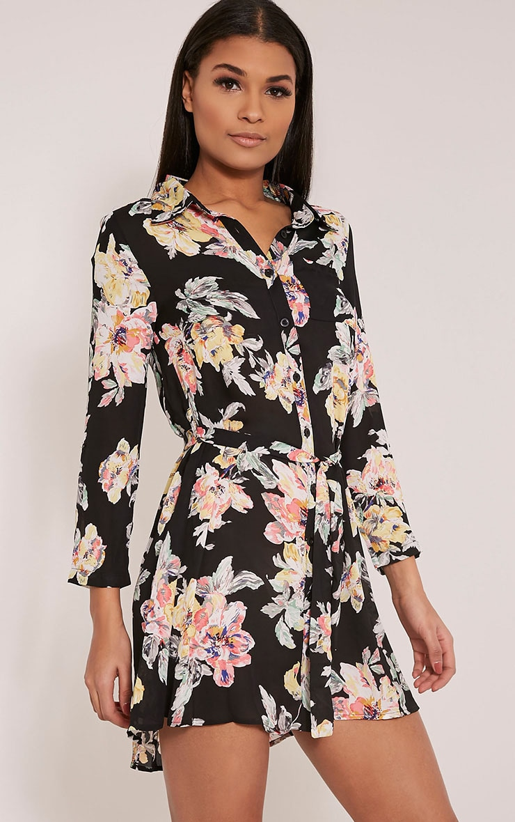 Halina Black Floral Shirt Dress 3