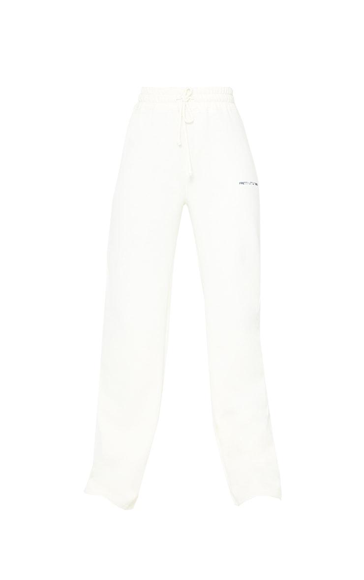 PRETTYLITTLETHING Tall Cream Wide Leg Sweat Pants 5