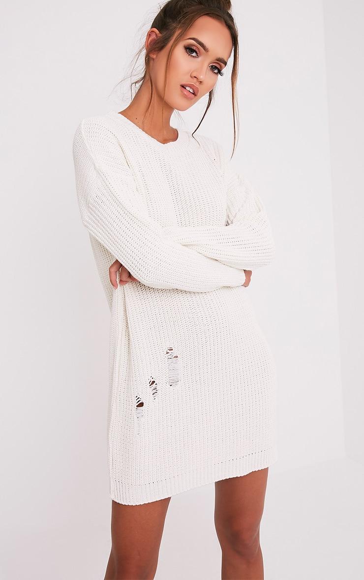 Nico robe pull surdimensionnée crème aspect vieilli 5