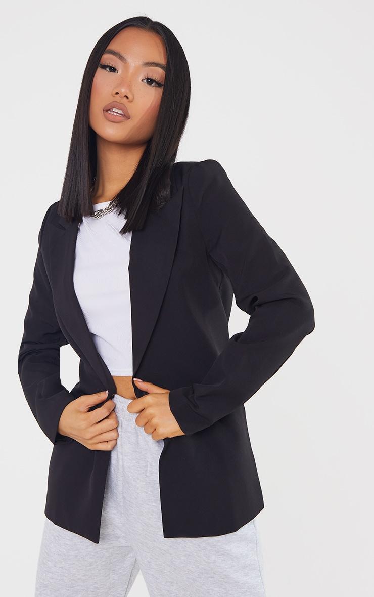 Petite Black Single Breasted Oversized Blazer 1