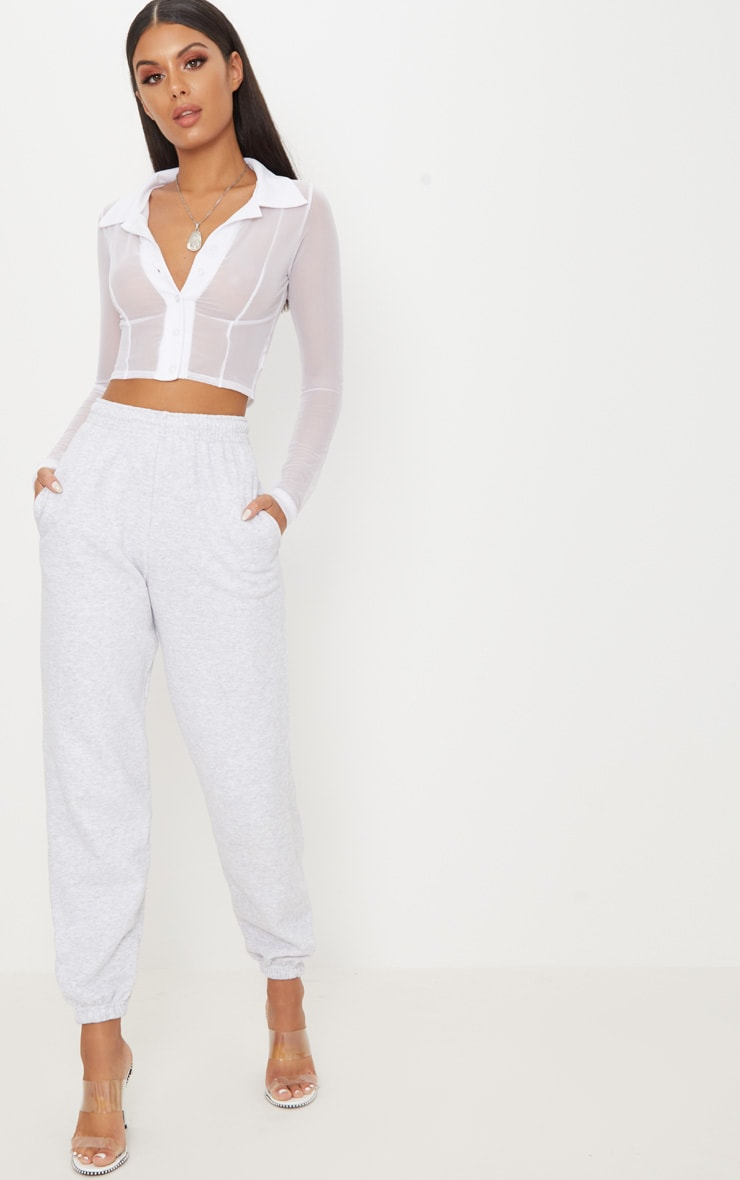 White Sheer Mesh Long Sleeve Crop Shirt 4