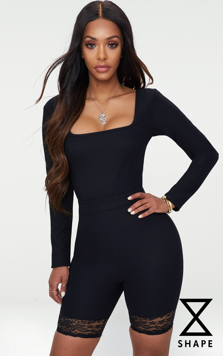Shape Black Ribbed Square Neck Bodysuit 1