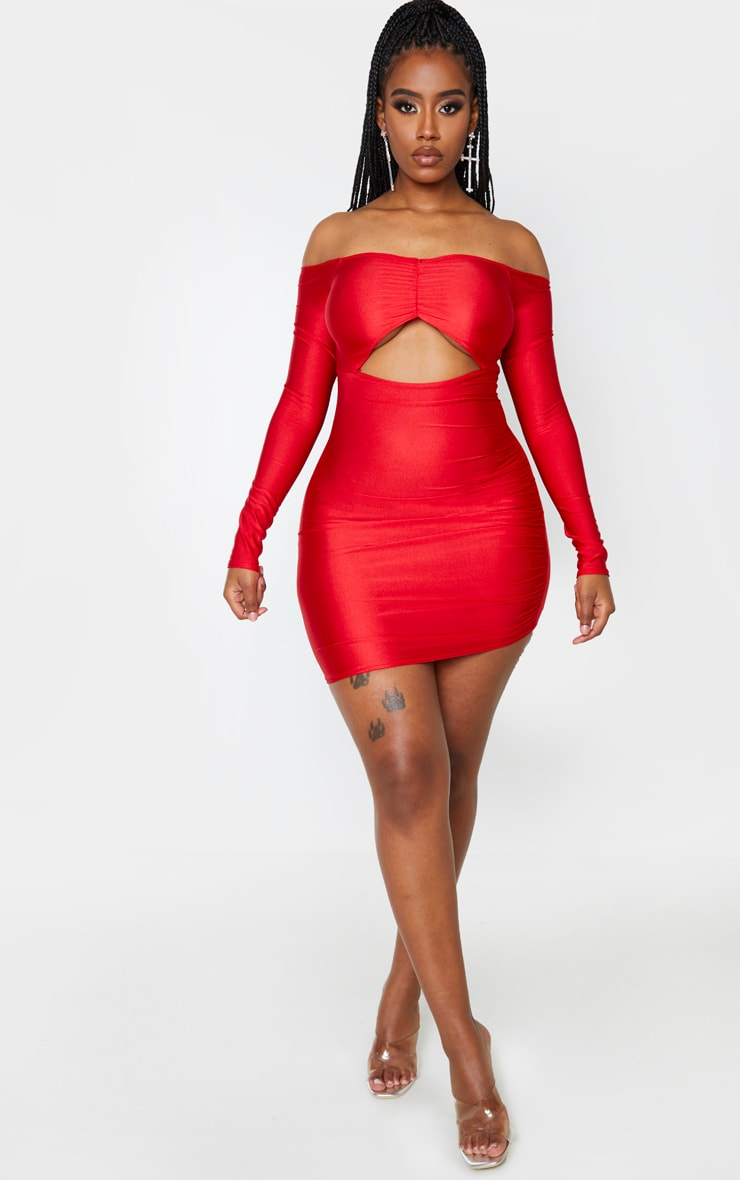 Shape Red Slinky Bardot Ruching Bust Bodycon Dress 4