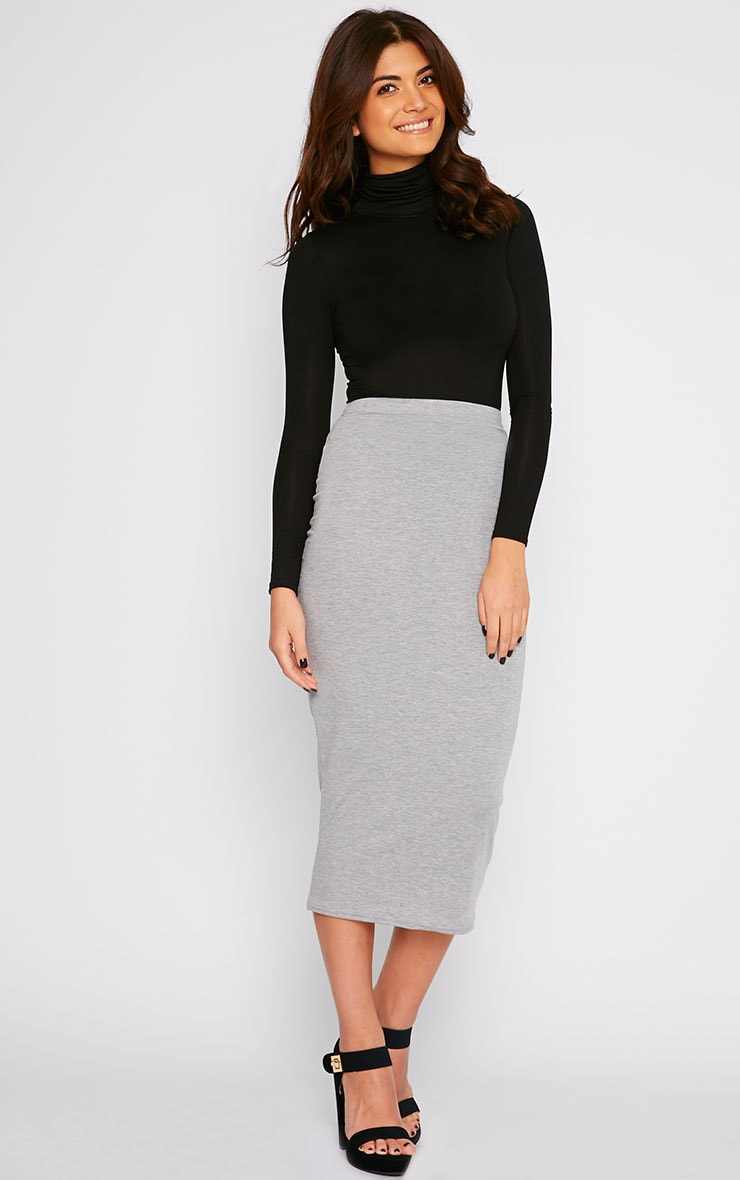 Basic Grey Longline Midi Skirt 1
